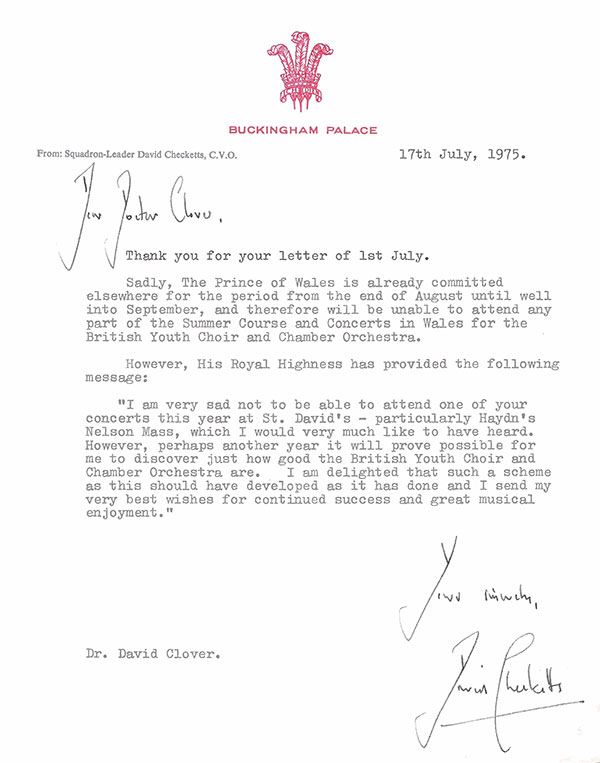 Letter from Prince Charles